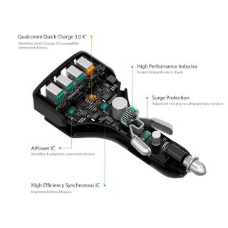 AUKEY USB adaptér do auta 4 porty quick charger CC-T9