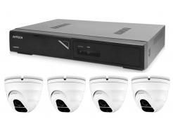 Kamerový set 1x AVTECH NVR AVH1104 a 4x 2MPX IP Dome kamera AVTECH DGM2203SVSE + 4x Kabel UTP 1x RJ45 - 1x RJ45 Cat5e 15m!