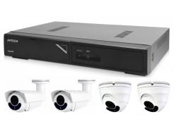 Kamerový set 1x AVTECH NVR AVH1104, 2x 2MPX Motorzoom IP Dome kamera AVTECH DGM2443SVSE a 2x 2MPX Motorzoom IP Bullet kamera AVTECH DGM2643SV + 4x Kabel UTP 1x RJ45 - 1x RJ45 Cat5e 15m!