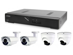 Kamerový set 1x AVTECH NVR AVH1104, 2x 5MPX IP Dome kamera AVTECH DGM5406ASE a 2x 5MPX IP Bullet kamera AVTECH DGM5606 + 4x Kabel UTP 1x RJ45 - 1x RJ45 Cat5e 15m!
